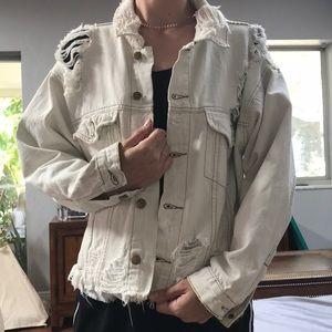 carmar ripped white denim jacket size small